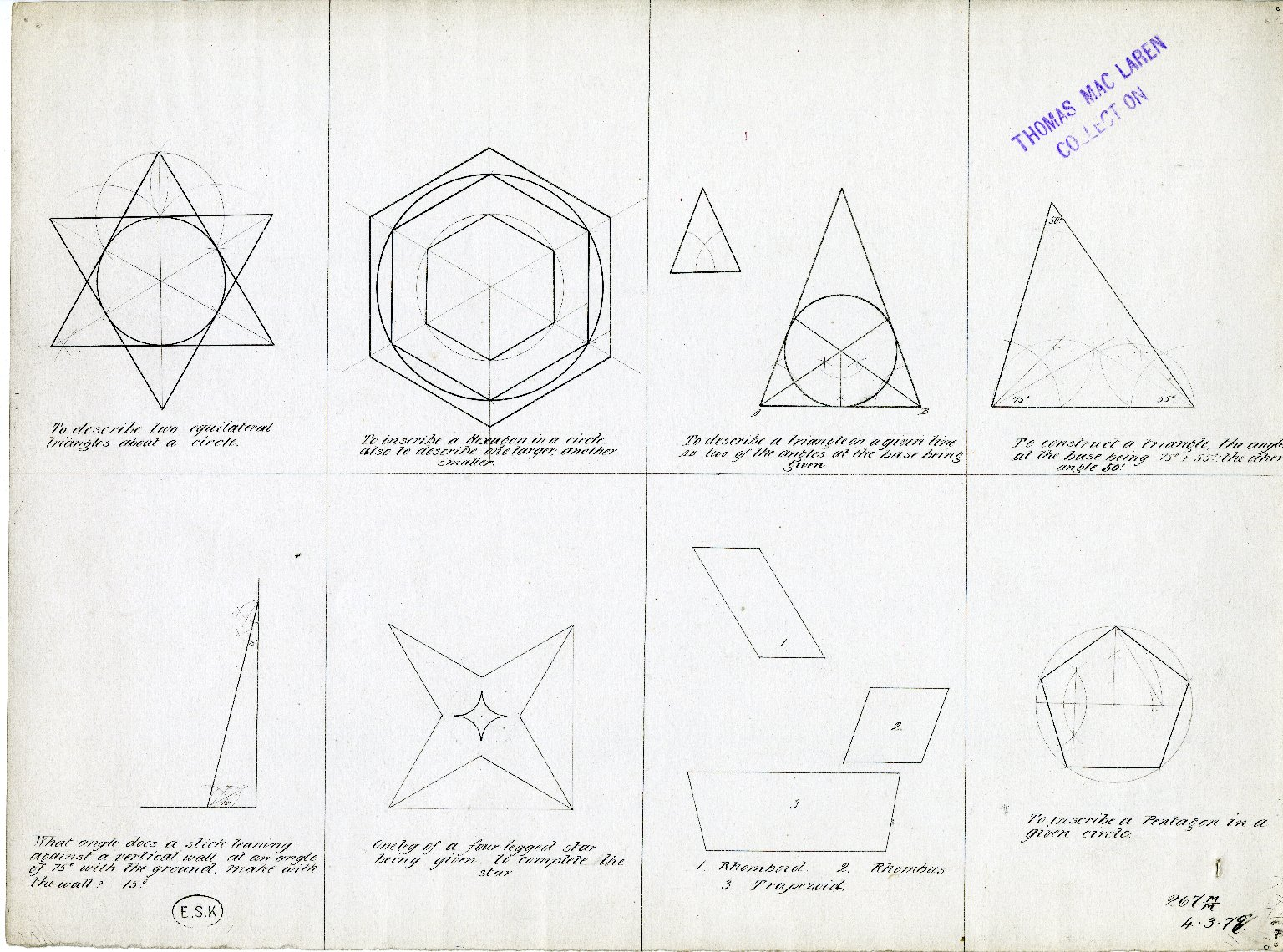 Detailed drawings of eight geometric designs