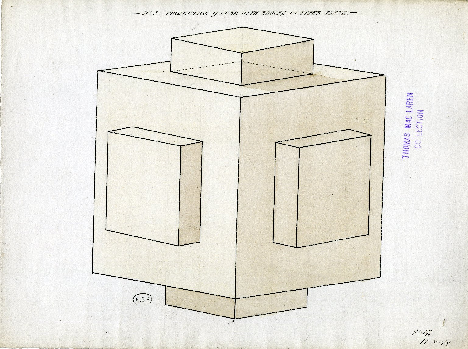 Projection of cube with blocks on upper plane