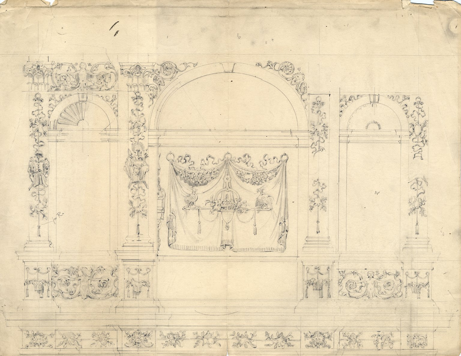 Architectural design, possibly from Monument of the Count de Borgnival of Belgium