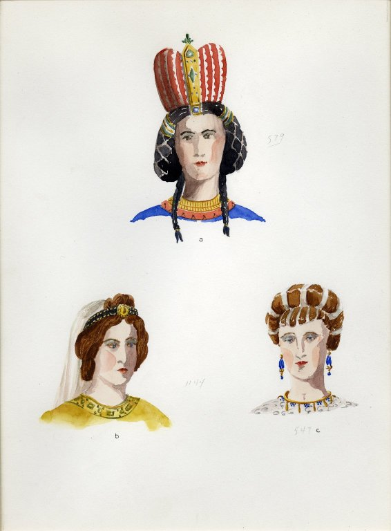 Plate XVI: Dark and Early Middle Ages crown, headdress, coiffure