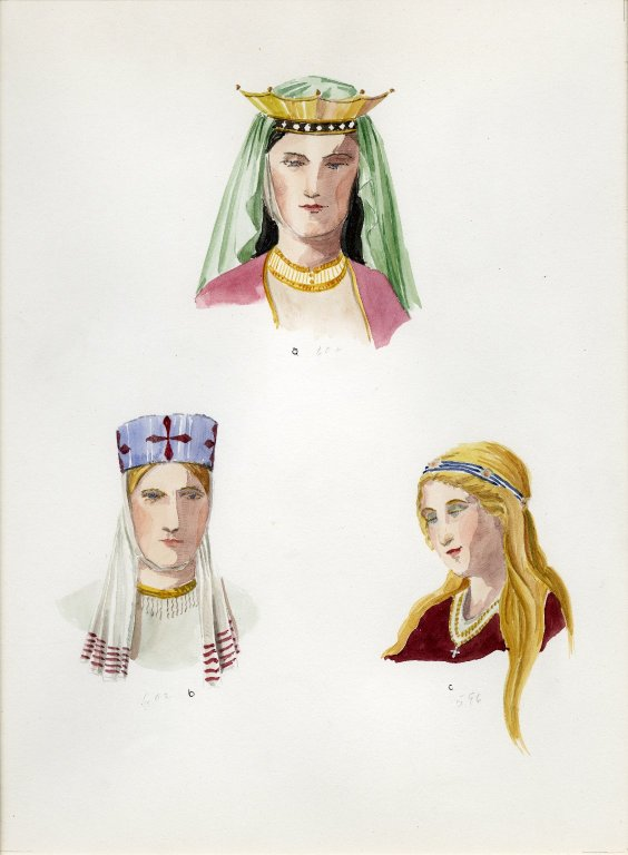 Plate XVIII: Dark and Early Middle Ages coronet,headdress, coiffure