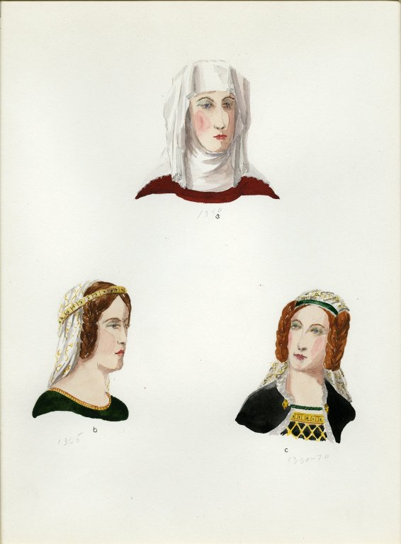 Plate II: Late Middle Ages English headdress, coiffure, coiffure
