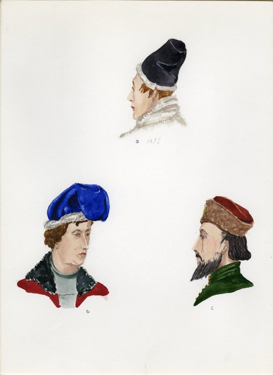 Plate III: Late Middle Ages English high hat, cap, hat