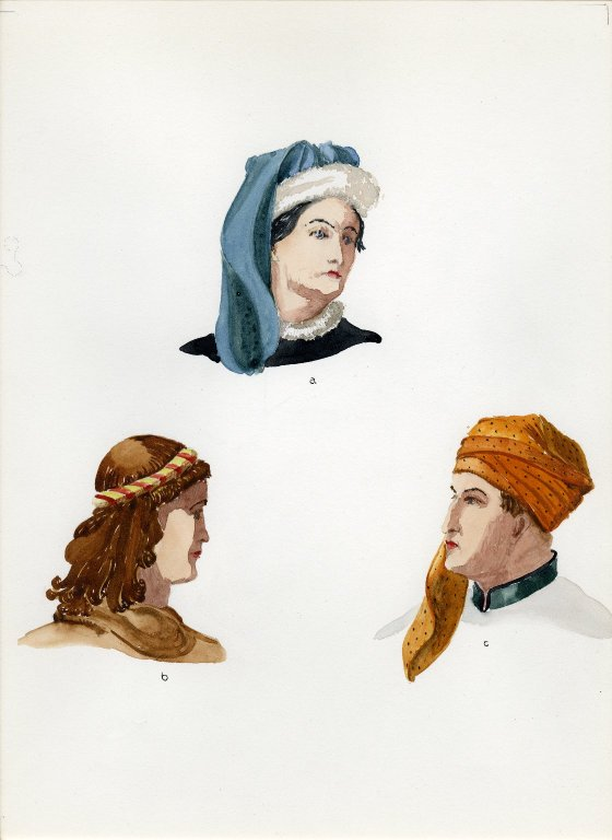 Plate V: Late Middle Ages German cap, coiffure, turban