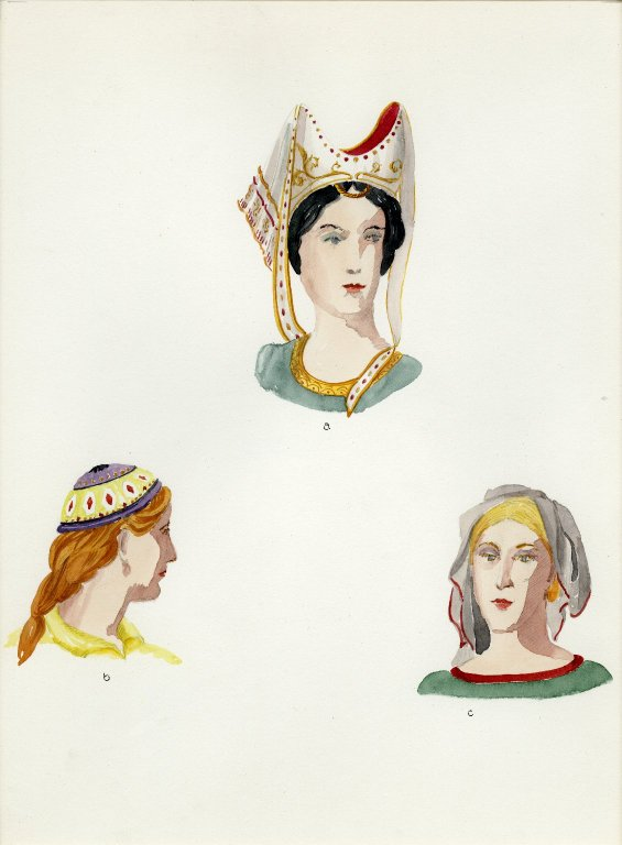 Plate VI: Late Middle Ages Italian headdress, cap, headdress