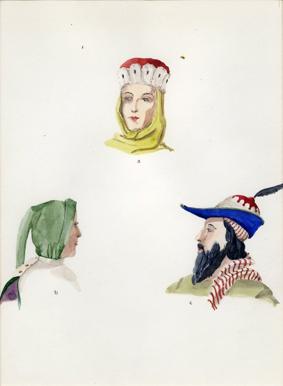 Plate VII: Late Middle Ages Italian cap, or hat cowl, hat