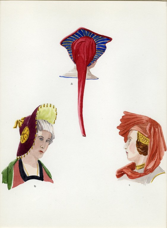 Plate VIII: Late Middle Ages French headdress, hat, hood or cowl