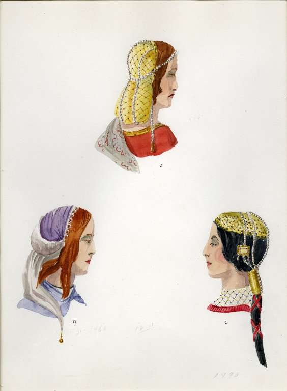 Plate XII: Late Middle Ages Italian coiffure, headdress, coiffure