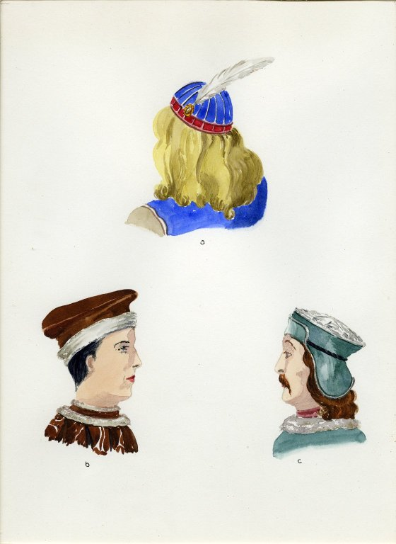 Plate XIII: Late Middle Ages Italian cap, hat, hat