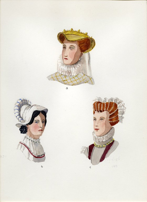 Plate XX: 16th Century French hat, cap, coiffure