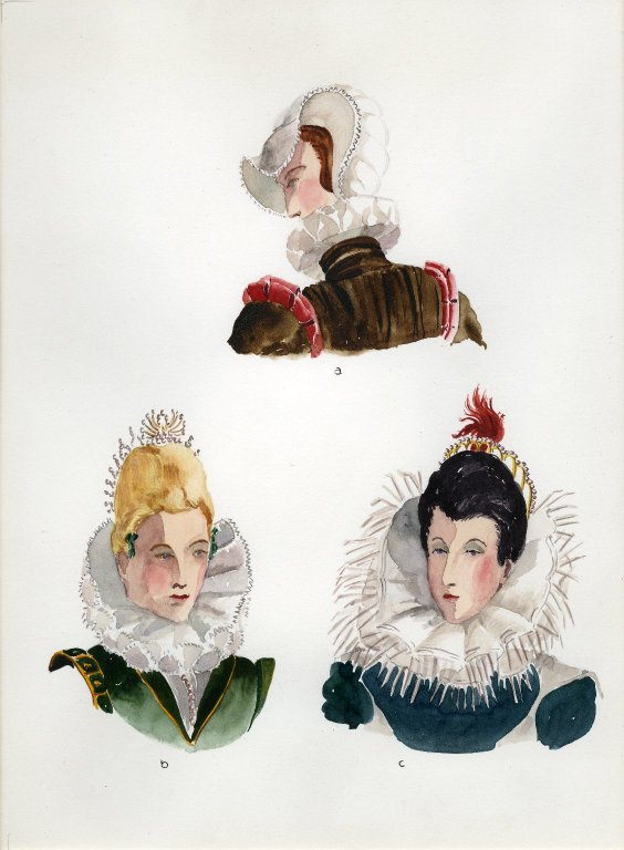 Plate XXI: 16th Century French cap, coiffure, coiffure