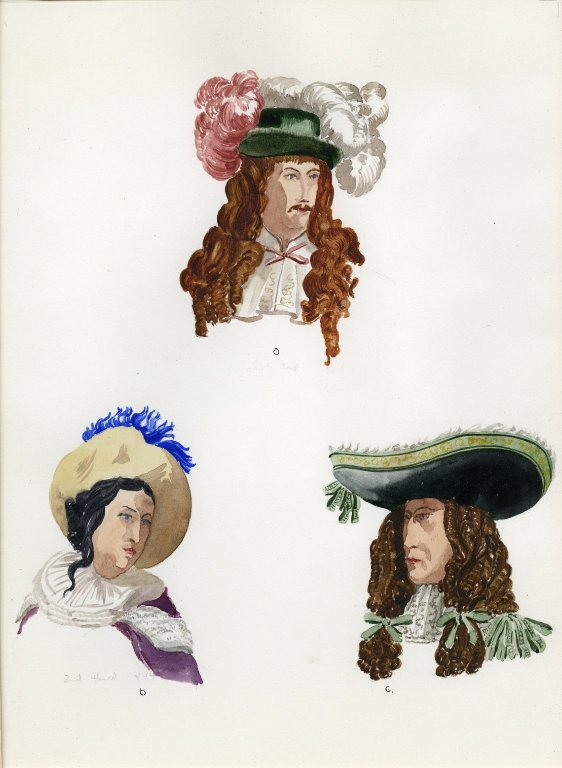 Plate II: 17th Century French wig, hat, wig