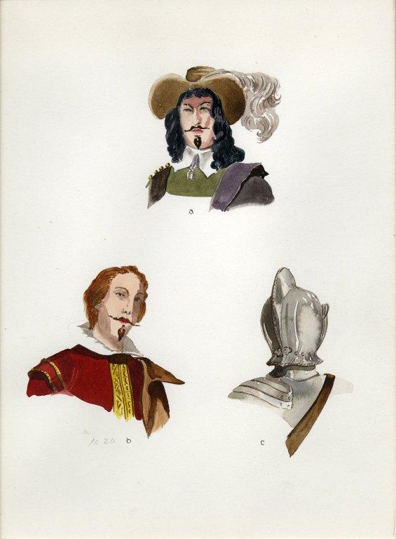 Plate VII: 17th Century English hat,coiffure, helmet