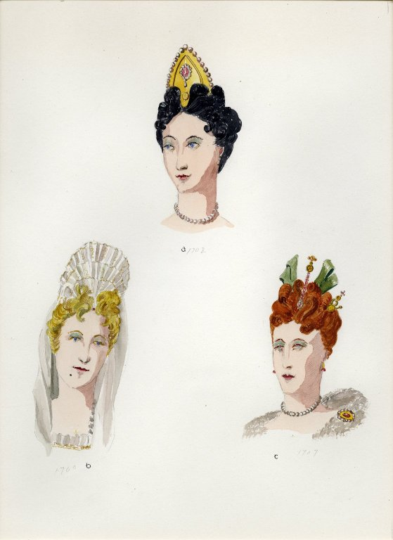 Plate IX: 18th Century French coiffure, headdress, coiffure