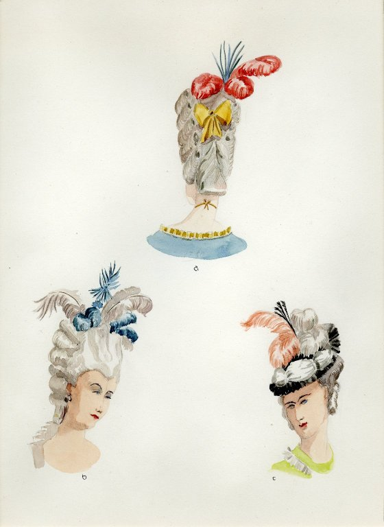 Plate XI: 18th Century French coiffures, hats