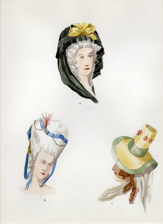 Plate XII: 18th Century French hood, coiffure, hat