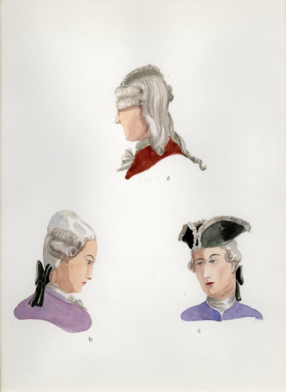 Plate XIV: 18th Century French wigs