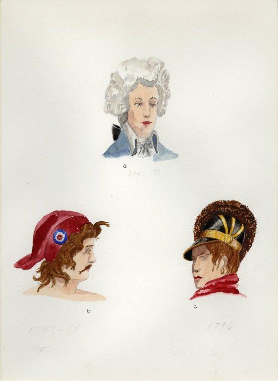 Plate XV: 18th Century French coiffure, cap, helmet