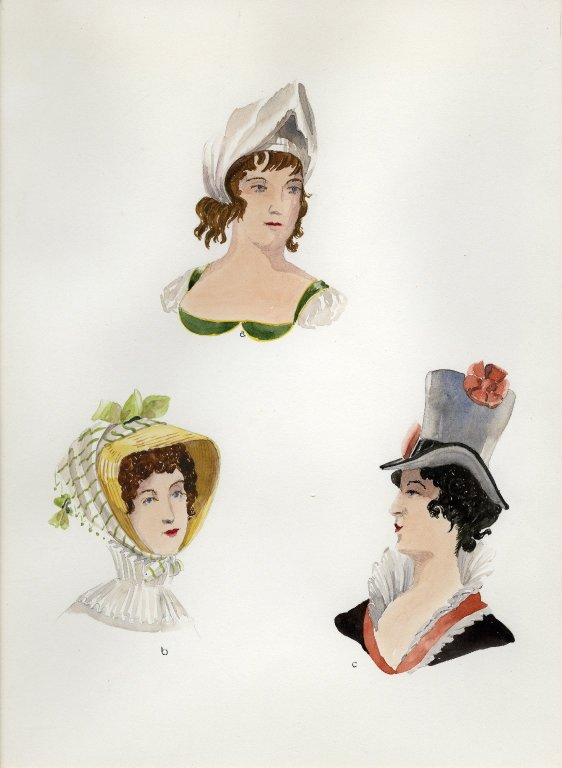 Plate XVIII: 19th Century French turban, bonnet, hat