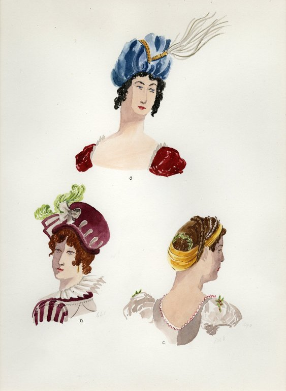 Plate XIX: 19th Century French turban, hat, coiffure