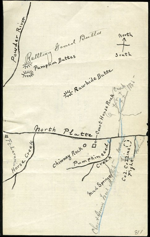 Cheyenne and Sioux trail in 1865; Camp at Mud Springs where Col. William O. Collins was surrounded