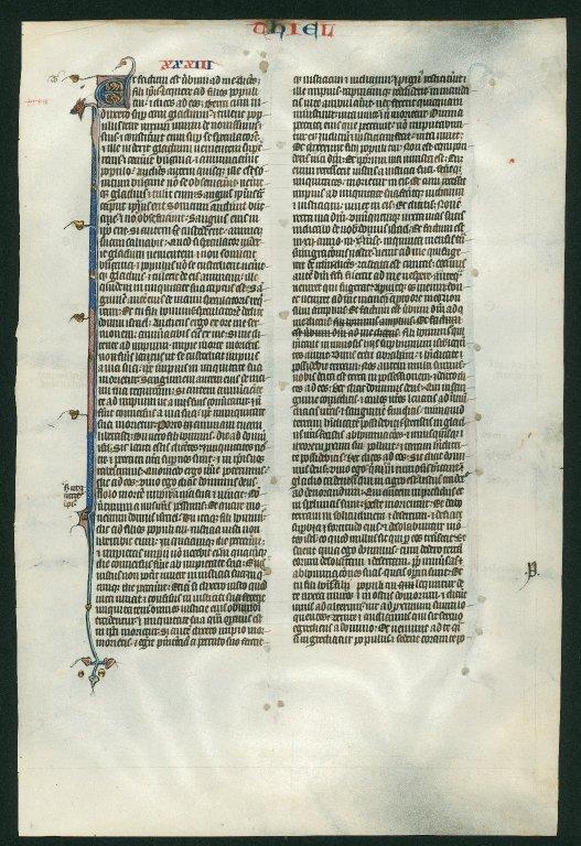 Bible, illuminated. France. Reverse: Ezekiel 33:1–33:31.