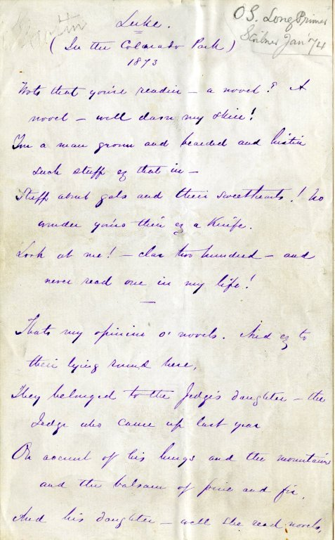 Harte, Bret. Holograph poem, 10 pages, signed, 1873.