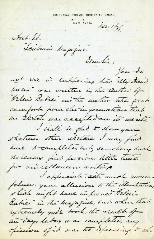 Habberton, John. ALS, 2 pages, November 1, 1876.