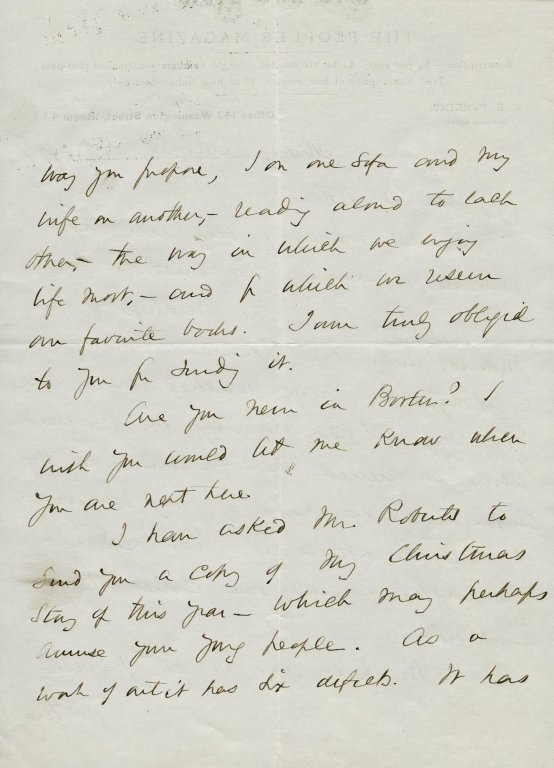 Hale, Edward Everett. ALS, 3 pages, December 3, 1874.