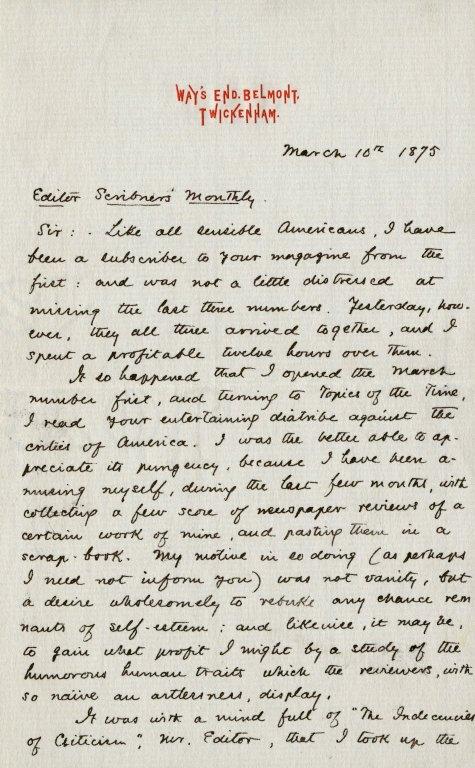 Hawthorne, Julian. ALS, 3 pages, June 5, 1875.