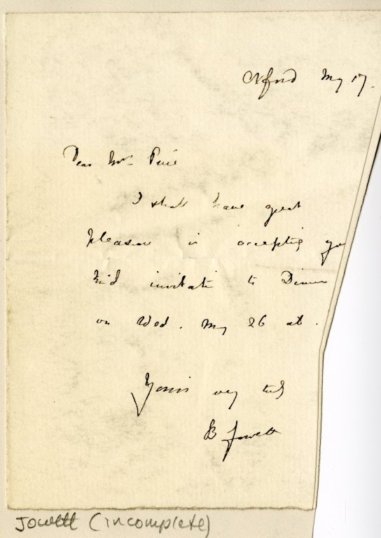 Jowett, Benjamin to Mrs. Peirce. ALS, 1 page, [May 17].