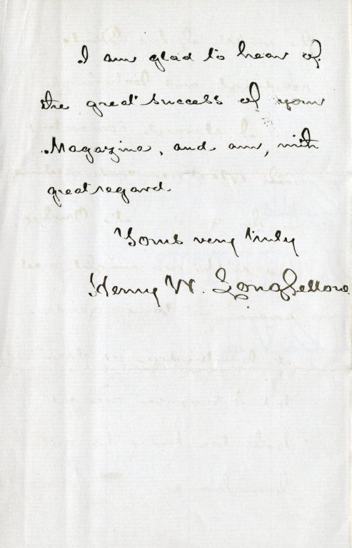 Longfellow, Henry Wadsworth. ALS, 4 pages, January 26, 1875.