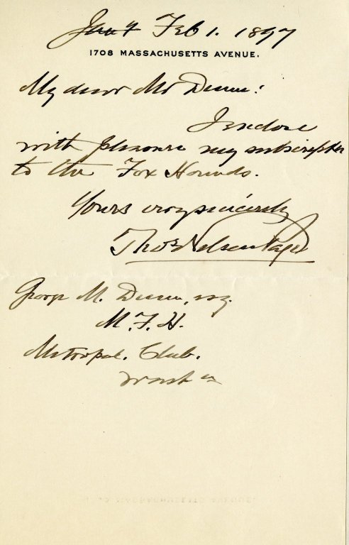 Page, Thomas Nelson to George M. Dunn. ALS, 1 page, February 1, 1897.