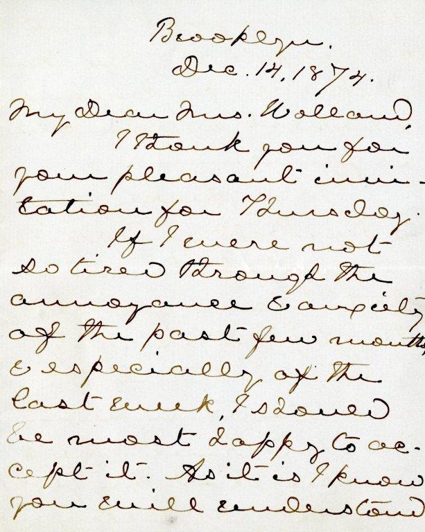 Proctor, Edna Dean. ALS, 4 pages, December 14, 1874.