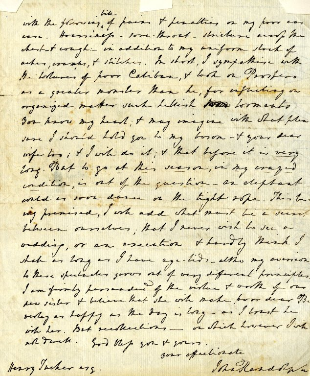 Randolph, John to Henry Tucker. ALS, 2 pages, February 3, 1809.
