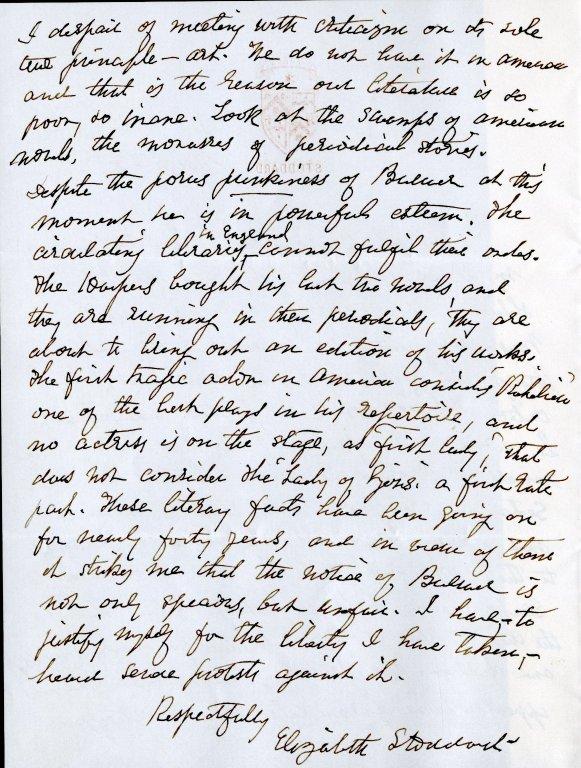 Stoddard, Elizabeth. ALS, 2 pages, [March 28].