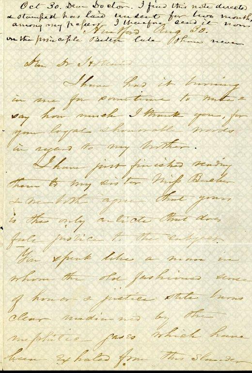 Stowe, Harriet Beecher. ALS, 4 pages, August 30, [1874].