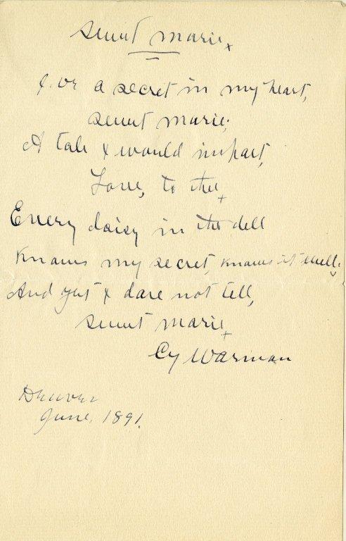 Warman, Cy. Holograph poem, 1 page, 1891.