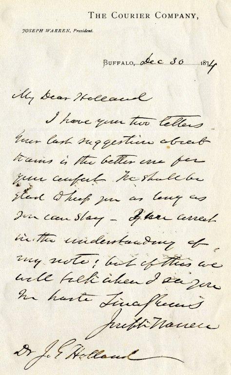 Warren, Joseph. ALS, 1 page, December 30, 1874.
