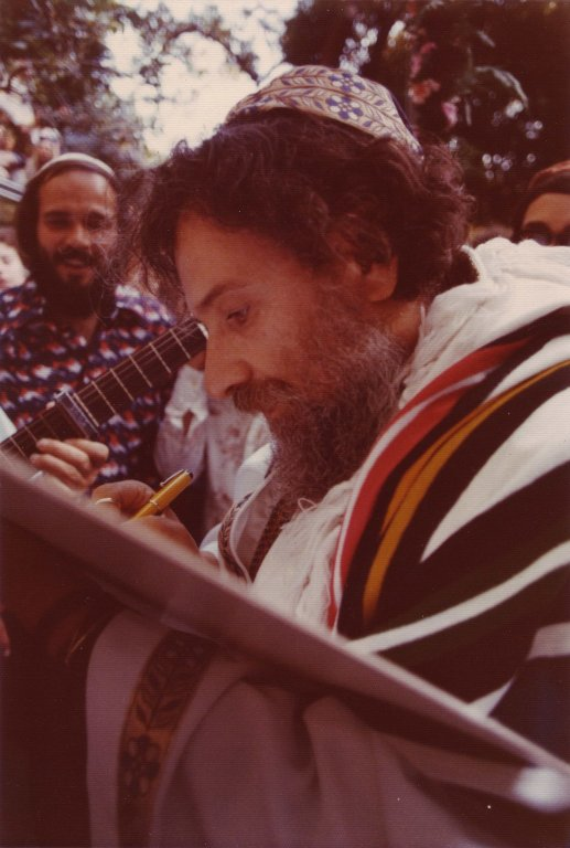 Rabbi Zalman Schachter signing the ketubah on the day of his wedding to Elana Rappaport, 1976.