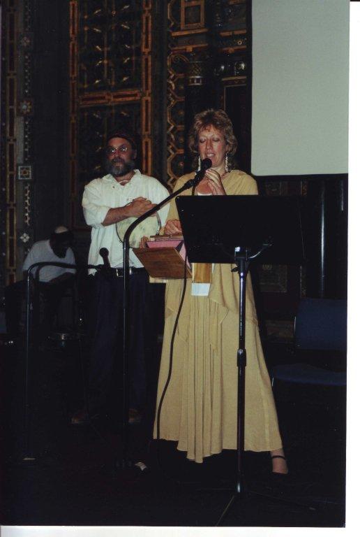 Hazzan Robert Michael Esformes and Rabbi Shefa Gold performing.