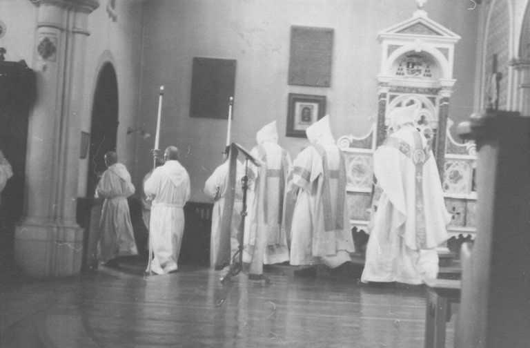 The monks of Notre Dame Des Praries going out after Compline, ca. 1960s.