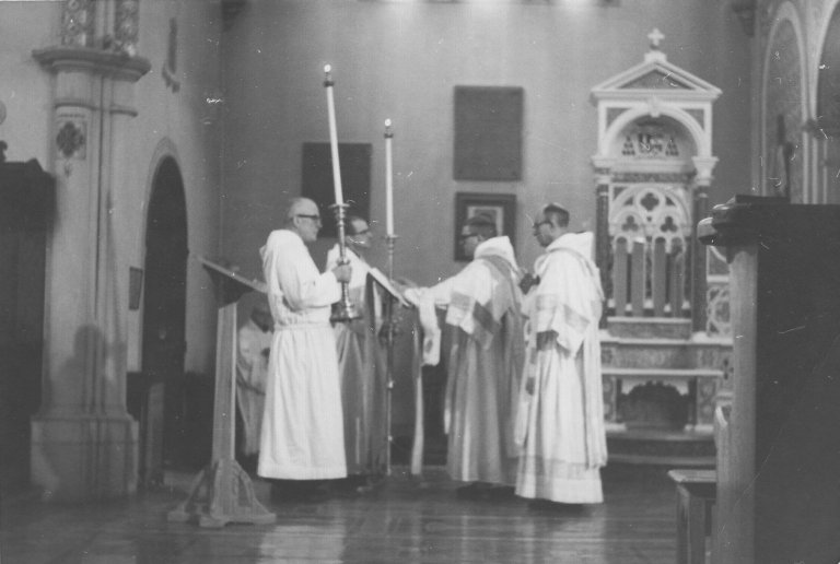 The monks of Notre Dame Des Praries coming during Compline, ca. 1960s.