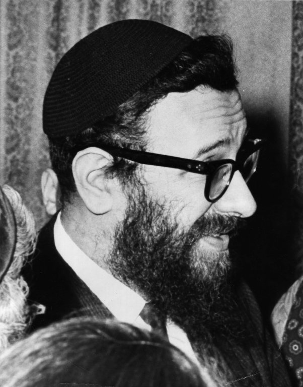 Close-up of Rabbi Zalman Schachter after a Hillel Foundation talk in Pittsburg, Pennsylvania in 1962 or 63.