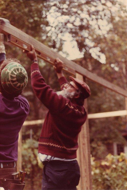 Rabbi Arthur Waskow helping to build a sukkah, pt. 3 of 4.