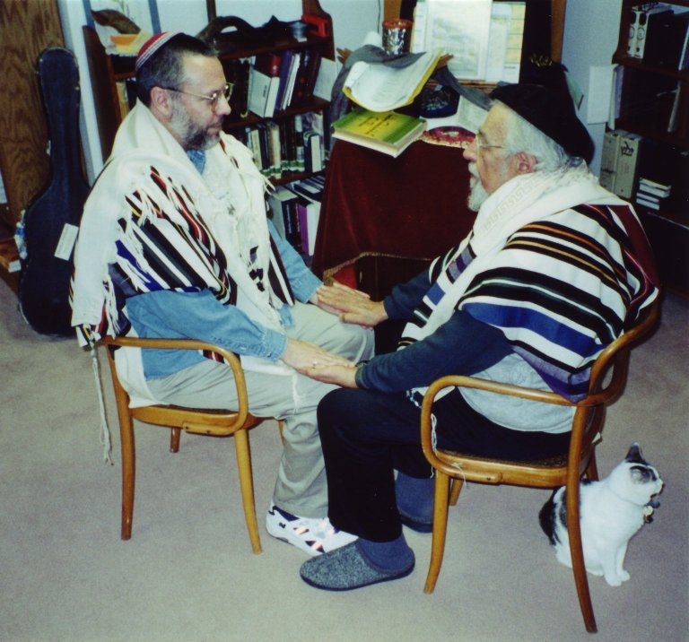 Rabbi Rami Shapiro being personally ordained by Rabbi Zalman Schachter-Shalomi in the basement of Schachter-Shalomi's house on Hardscrabble Drive in Boulder, Colorado, ca. 1997, pt. 1 of 2.