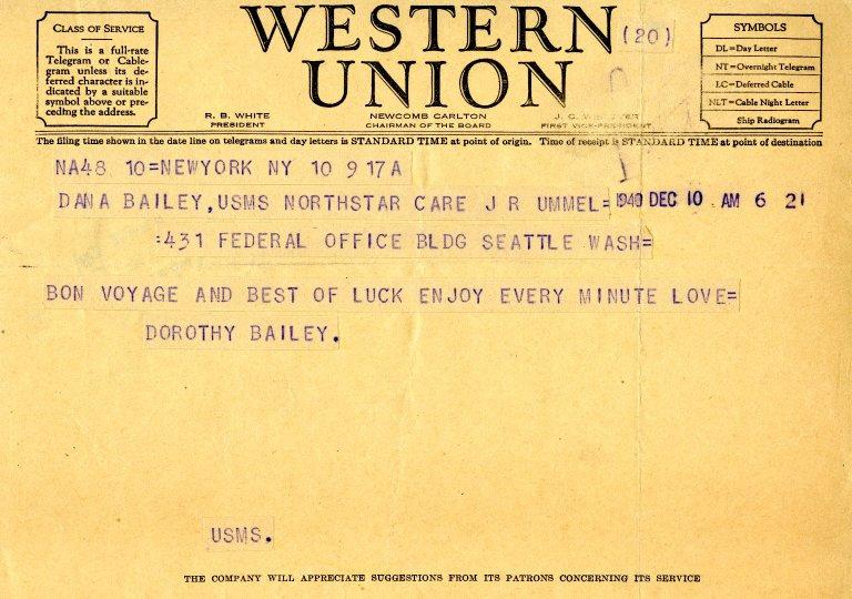 Telegram from Dorothy Bailey to Dana K. Bailey