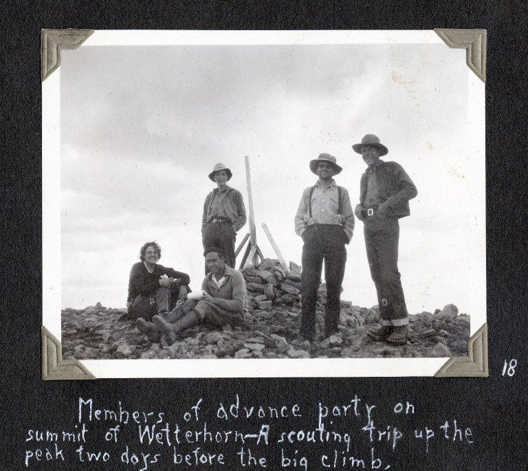 Advance scouting group on summit of Wetterhorn Peak