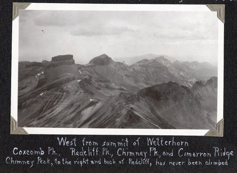 Looking west from summit of Wetterhorn Peak
