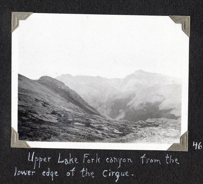 Upper Lake Fork canyon from the lower edge of the cirque.